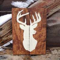 Deer Silhouette Wood Sign, Hand Painted Cream White,  Distressed Rustic Primitive Country Wall Decor, Buck, Outdoorsman, Cabin, Natural Wood
