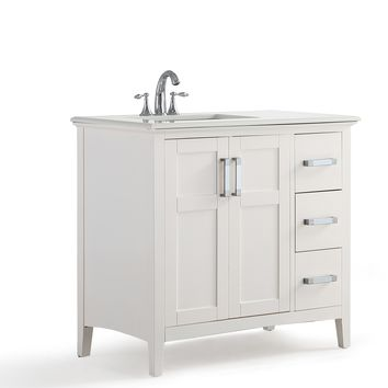 36 inch Left Offset Bath Vanity in Soft White with Bombay White Quartz Marble Top