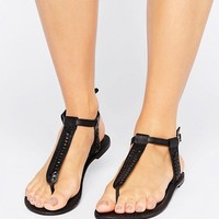 Boohoo Plaited Toe Post Flat Sandal at asos.com