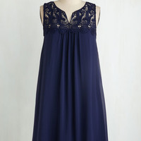Americana Mid-length Sleeveless Shift Graced with Lace Dress by ModCloth