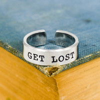 Get Lost - Hiking - Mountains - Adjustable Aluminum Ring
