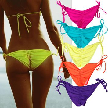 Bikini Bottoms Neon Sharp Color Swimwear Summer Side Tie