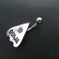 Ouija Board Pointer Belly Button Ring Navel Piercing Stud Bar Barbell Charm Pink Opal Gem Stone