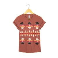 Aztec Pattern - Hand STENCILED Crew Neck Tri Blend Pinned Rolled Cuffs Women's Tee in Heather Clay and Earth Tones - S M L XL 2XL 3XL