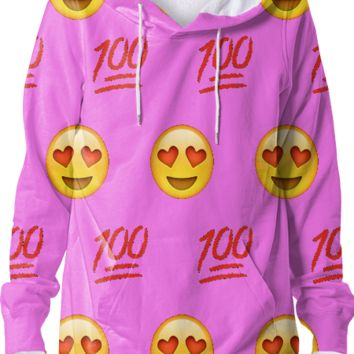 Pink/Emoji Hoodie created by trilogy-anonymous | Print All Over Me