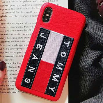TOMMY Fashion New Embroidery Letter Women Men Phone Case Protective Cover