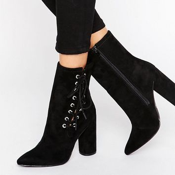 Missguided Lace Up Heeled Ankle Boot at asos.com
