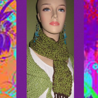 SALE Green Scarf Artistic Curvy Whimsical Abstract by ArtisticFunk