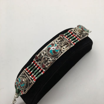 Vintage Nepalese Red Coral & Green turquoise Inlay Statement Bib Bracelet, NPB59
