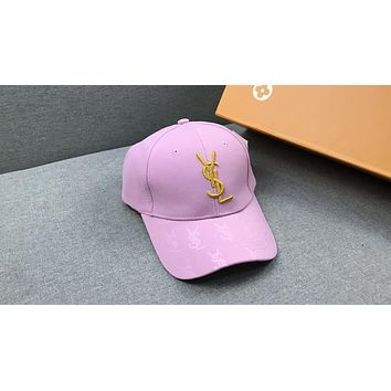 YSL street fashion men and women embroidered letters fashion casual cap baseball cap Pink