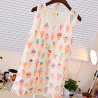 Spring Chiffon Ice Cream Cup Cake Pattern Tank Top