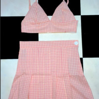 SWEET LORD O'MIGHTY! GINGHAM TENNIS SKIRT IN PINK