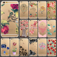 """2015 New Arrival Flowers Printed Transparent Soft TPU Back Skin Cover Case For iphone6 4.7"""" Free shipping WHD1291 21-40"""