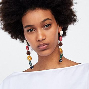 Vedawas Bohemian Ethnic pendientes Gems statement Dangle Drop Earrings for women Fashion Female Travel Vacation Jewelry xg1433