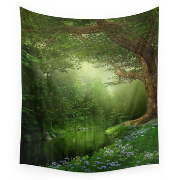 Society6 Summer Forest River Wall Tapestry