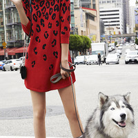 RED LEOPARD PRINT SWEATER DRESS from EXPRESS