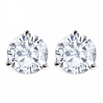 1.50 cttw Round Moissanite Martini Stud Earrings 14K White Gold