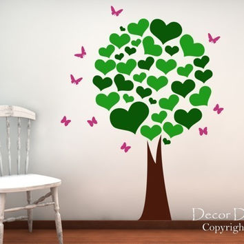 Heart Leafed Tree Wall Decal - Nursery Tree Wall Decal - Kids Decals - Butterfly Decals, Butterflies - Girls Wall Decals - Tree Wall Decals