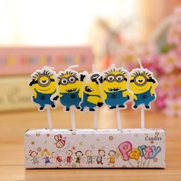 Hot Sale Creative Cute Cartoon Minions candles Birthday Party Cake/Cupcake Kawaii Fashion Birthday Candle Party Supplies
