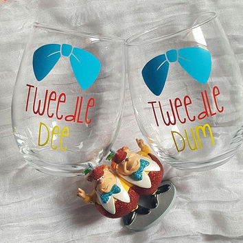Disney Wine Glass Set, Disney Wine Glasses, Best Friends Wine Glass Tweedle Dee Tweedle Dum Wine Glasses, Alice In Wonderland