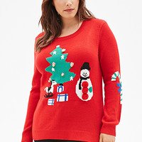 FOREVER 21 PLUS Jingle Bells Holiday Sweater Red/Multi