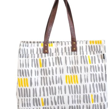 Vertical Strokes Grey Carryall Tote
