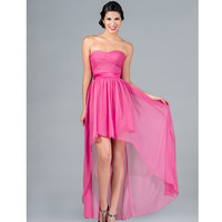 2013 Prom Dresses- Hot Pink Strapless High-Low Chiffon Dress - Unique Vintage - Cocktail, Pinup, Holiday & Prom Dresses.