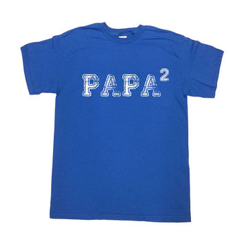 Papa Shirt Papa Squared Shirt Two Children T-Shirt Grandpa Shirt New Grandpa Gift Papa Gifts Gift For Papa Grandfather Mens Tee - SA258