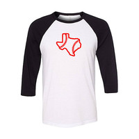 Texas Baseball Raglan Shirt, Baseball Shirt