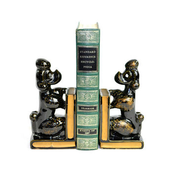 Black Poodle Bookend Pair (Set of 2) - Kitsch Dog Figurines on Books, Built-In Pen, Pencil or Brush Holder - Vintage Home Decor