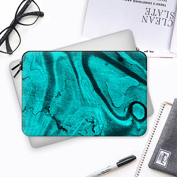 teal watercolor Macbook Pro 13 sleeve by VanessaGF | Casetify