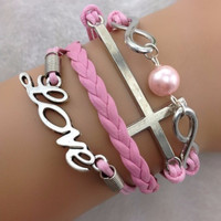 Infinity, Cross, Love Pink Stacked Bracelet