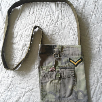 Camouflage Army Patch Purse/Bag  Key Chain Cancer Awareness Ribbon Charm Crossover Upcycle Recycle