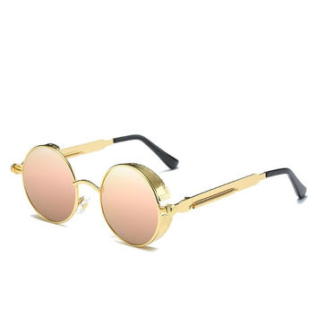 Men Women UV400 Vintage Steampunk Round Mirror Lens Sunglasses Outdoor Sport Eyewear