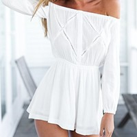 Amazon.com: CHOIES Womens Polyester White Off Shoulder Romper Playsuit
