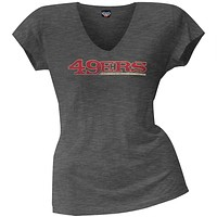 San Francisco 49ers - Scrum Logo Juniors Premium V-Neck T-Shirt