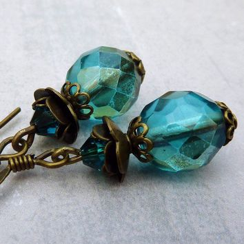Teal Rose Earrings by lunarbelle on Etsy
