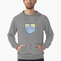 'Roofer Working On Roof Shield Mono Line' Lightweight Hoodie by patrimonio