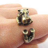 Realistic Hippo Hippopotamus Shaped Animal Wrap Ring in Brass   US Size 6 to 9