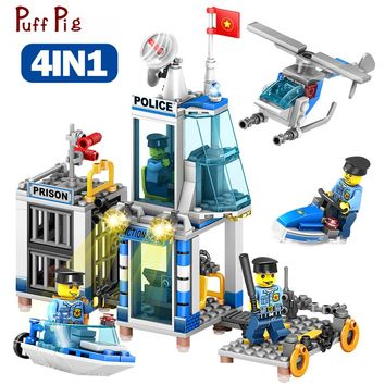 4 IN 1 Police Station Helicopter Boat Building Blocks Set Figures Compatible Legoings City DIY Construction Bricks Toys For Kid