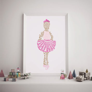 Ballerina Printable, Word Cloud Ballerina, Printable Art, Digital Art.