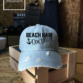 Beach Hair Dont Care Baseball Cap, Denim Cap, Jean Cap, Flawless Hats, Hipster Cap, Girlfriend gift, Low-Profile Baseball Cap Baseball Hat