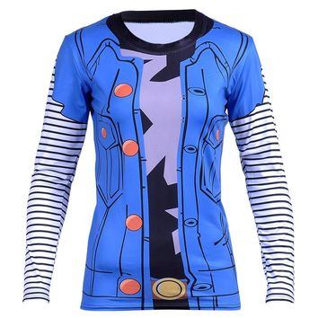 Hot Products Women Classic Anime Dragon Ball Z Super Saiyan Vegeta 3D Long Sleeve T-shirt Women's Fitness New Tee Cosplay