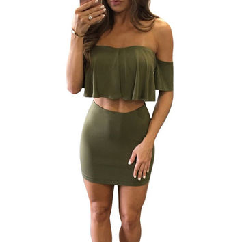 New Arrival 2017 Summer Army Green Women Two Piece Party Dresses Sexy Strapless Fashion Bodycon Dress Night Club Wear
