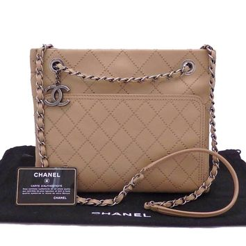 Auth CHANEL CC Logo Charm Slim Chain Shoulder Bag Light Brown Leather - e31553