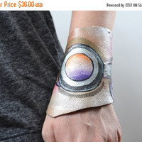 End Of Summer SALE Hand Painted Leather Cuff Bracelet - OOAK Leather Cuff Bracelet - Butterfly Leather Cuff Bracelet - Funky