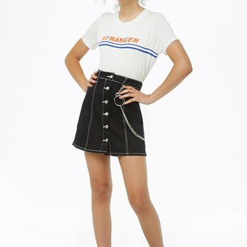 Contrast-Stitch Denim Mini Skirt