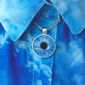 Light Blue Eye Necklace / Eye Pendant / Eye Jewelry / Human Iris Necklace / Third Eye