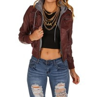 Burgundy Knit Faux Leather Jacket