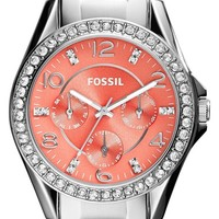 Women's Fossil 'Riley' Round Crystal Bezel Bracelet Watch, 38mm